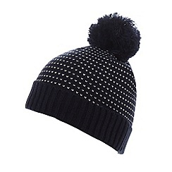 Red Herring - Navy birds eye knit bobble hat