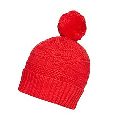 Hammond & Co. by Patrick Grant - Designer red textured fairisle bobble hat