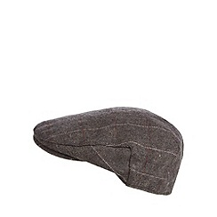 Osborne - Dark brown herringbone flat cap