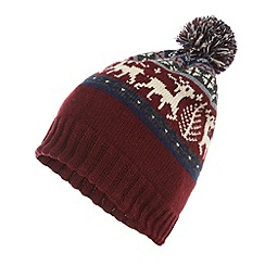 Red Herring - Red fairisle reindeer knit bobble hat