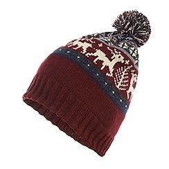 Red Herring - Red fairisle reindeer knit bobble hat