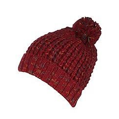 Red Herring - Red twisted knit bobble hat