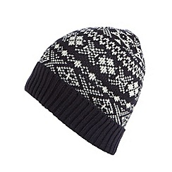 Red Herring - Navy fairisle knitted beanie hat