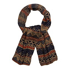 Mantaray - Light brown fairisle knit scarf