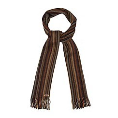 Mantaray - Brown zip stitch stripe scarf
