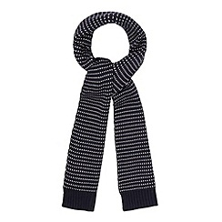 Red Herring - Navy spotted knitted scarf