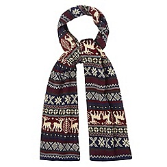 Red Herring - Red reindeer fairisle knitted scarf
