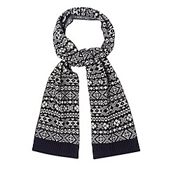 Red Herring - Navy fairisle reversible knitted scarf