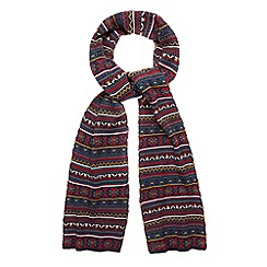 Red Herring - Navy jacquard fairisle knitted scarf