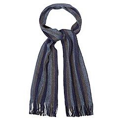 Maine New England - Blue zip stitch vertical stripe scarf