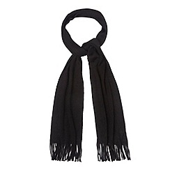 Maine New England - Black plain ribbed knit scarf