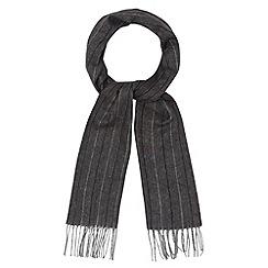 J by Jasper Conran - Designer dark grey herringbone pinstripe scarf