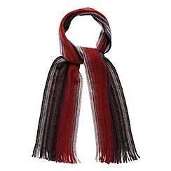 RJR.John Rocha - Designer red brushed wool striped scarf