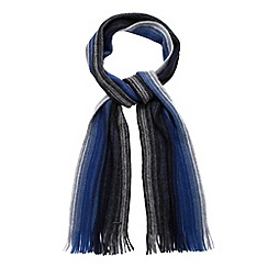 RJR.John Rocha - Designer blue brushed wool striped scarf