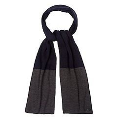 Jeff Banks - Designer grey colour block ribbed knit scarf