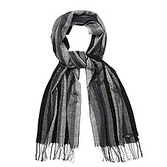 Jeff Banks - Designer black vertical stripe checked scarf