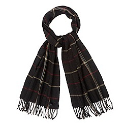 Jeff Banks - Designer dark grey herringbone checked woven scarf