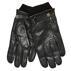 Dents - Black leather ribbed cuff gloves