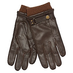 Dents - Brown leather knitted cuff gloves