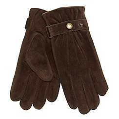 Dents - Brown leather suede gloves