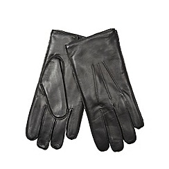 Dents - Black leather plain gloves