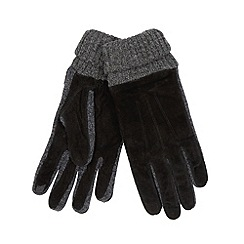 Totes - Black suede knitted gloves
