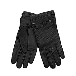 Totes - Black punched leather gloves