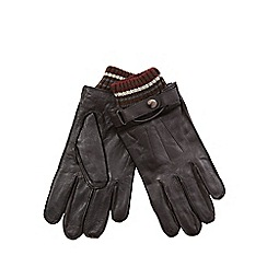 RJR.John Rocha - Brown leather touch screen knitted cuff gloves