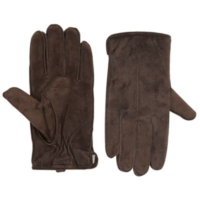 Totes Brown faux fur lined suede gloves