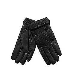 Jeff Banks - Black leather quilted gloves