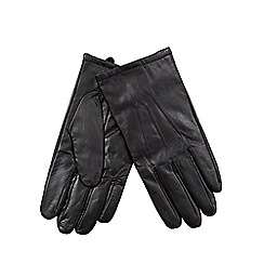 Jeff Banks - Black faux fur lined leather gloves