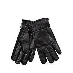 Jeff Banks - Black leather touch screen compatible gloves
