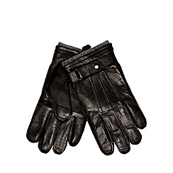 Jeff Banks - Black leather tab gloves