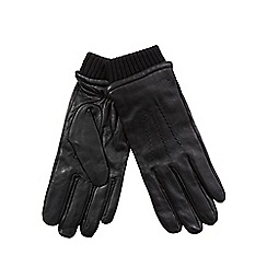 Jeff Banks - Black leather ribbed cuff gloves