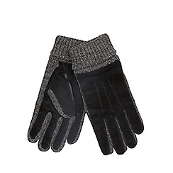 The Collection - Black twisted knit suede gloves