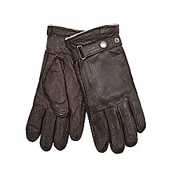 RJR.John Rocha - Brown leather and wool blend touchscreen gloves