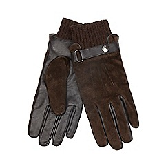 RJR.John Rocha - Brown twisted cuff suede gloves