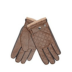 RJR.John Rocha - Brown leather quilted gloves