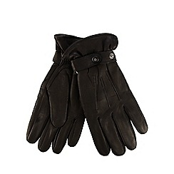 Jeff Banks - Black leather wrist strap gloves