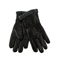 RJR.John Rocha - Black leather fleece cuff gloves in a gift box
