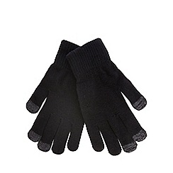 The Collection - Black touch screen compatible knitted gloves