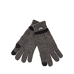 The Collection - Grey touch screen compatible knitted gloves