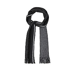 Jeff Banks - Grey striped fringed scarf