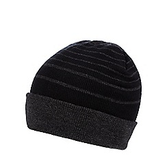Red Herring - Black striped turn up beanie hat