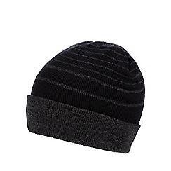 Red Herring - Black striped turn up beanie hat