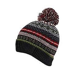 Red Herring - Grey Fair Isle knitted beanie hat