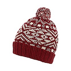 Mantaray - Red Nordic knitted beanie hat