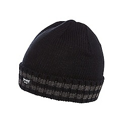 The Collection - Black striped fleece lined beanie hat