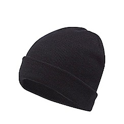 The Collection - Black plain beanie hat