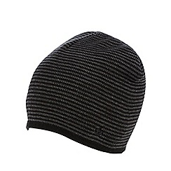Jeff Banks - Black fine striped beanie hat